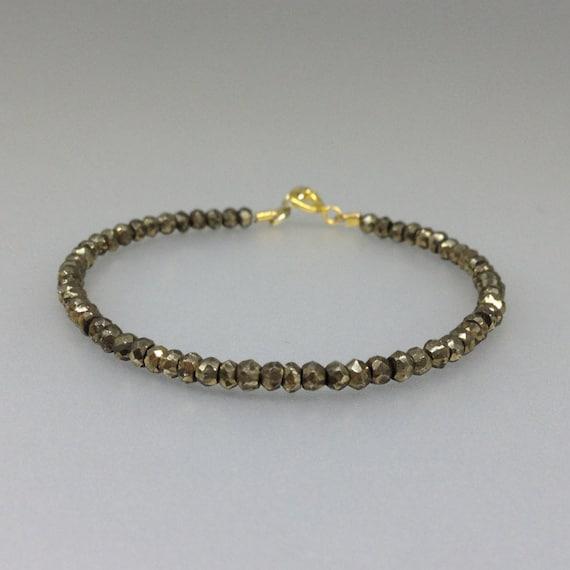 Bezel Wrapped Solitaire Gemstone Bangle 14K Gold Filled Sterling Silver Rose Pyrite Gold Bracelet Minimalist Metallic Fashion