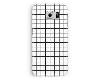 Galaxy S8 case, Samsung S7 case, S9 Case, Grid Phone case, black and white grid Case, Cool phone case, Minimal Samsung, Hipster Samsung Case