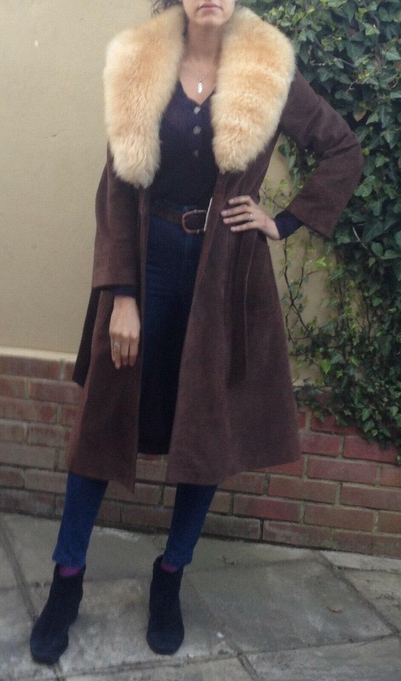 81c916ca3e4b7e Vintage 70s dark chocolate brown shearling sheepskin coat S/M | Etsy