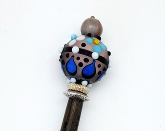 Blue Hair Stick - hair sticks for sale - hair stick blue - wood hair stick - beaded hair stick - blue hair sticks- wooden hair pin