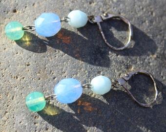 Blue earrings, long dangle earrings, blue earrings for women, blue earring, aqua blue earrings, blue sapphire dangle earrings FREE SHIPPING!