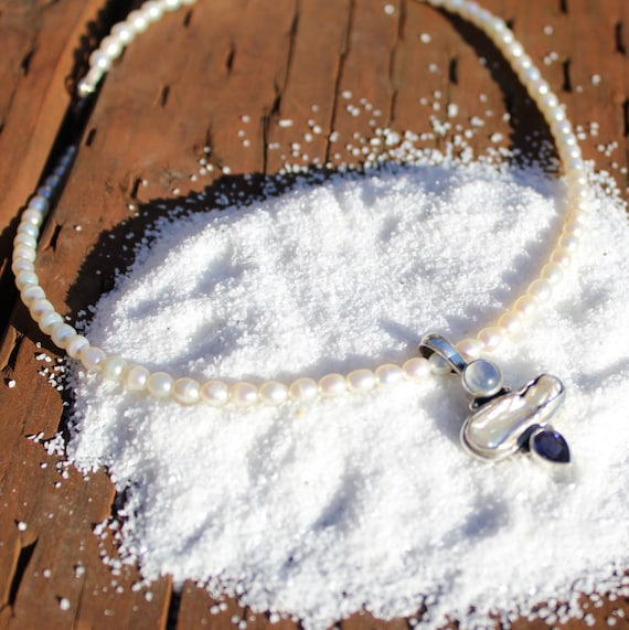 Moonstone Necklace | Pearl choker necklace | daint