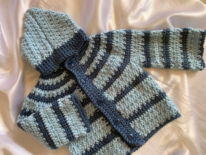 Crochet Baby Sweater one year Old Baby Sweater sweater with hood crochet striped baby sweater Baby Boy Sweater Long Sleeve Baby Sweater
