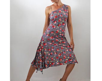 One shoulder Tango dress of floral print jersey, Milonga clothes