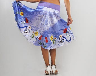 Wrap satin skirt with  poppy  flowers  print on shaded background, Tango skirt, Milonga wear