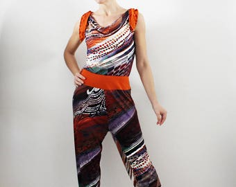Long Jumpsuit, Fluid Playsuit abstract viscose jersey print, Tango clothes