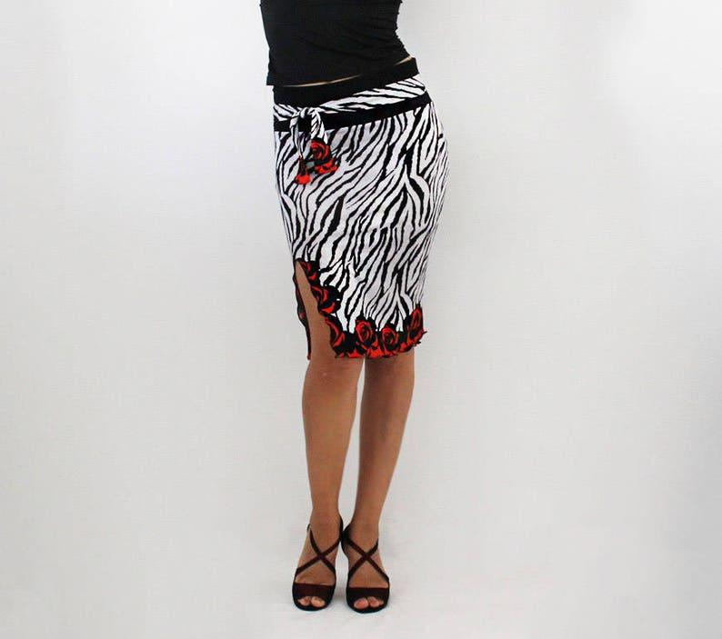 51d3b983489 Tango Salsa dance party skirt Tube black and white animal