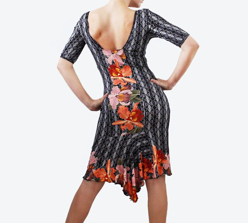 Abito tubino da tango stampa pizzo e orchidee abbigliamento  5d051ebd995