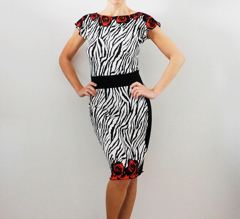 c4bef605b62 Tube dress of viscose jersey animal zebra print Tango