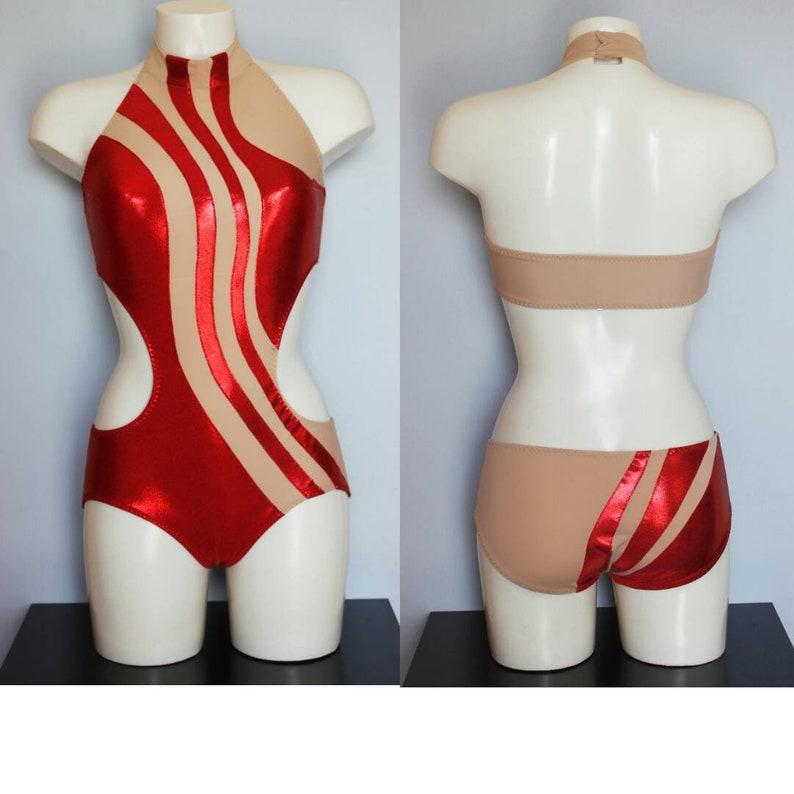 pole dance costume Skin  shiny red Bodysuit