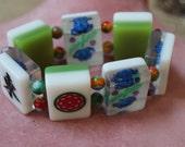 Mahjong Bracelet Vintage Mahjong Bracelet Stretch Tile Bracelet Mahjong Mahjong Charm Bracelet