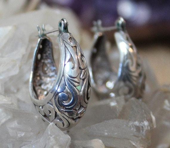 Victorian Filigree Sterling Silver Hoop Earrings/… - image 4