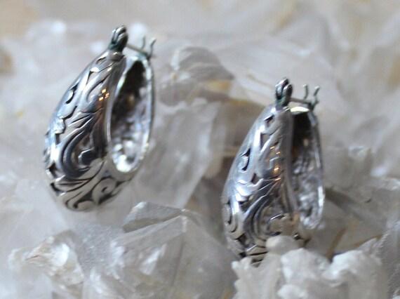 Victorian Filigree Sterling Silver Hoop Earrings/… - image 3