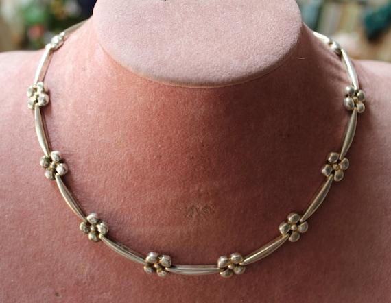 Sterling Flower Necklace/Handcrafted Sterling Flor