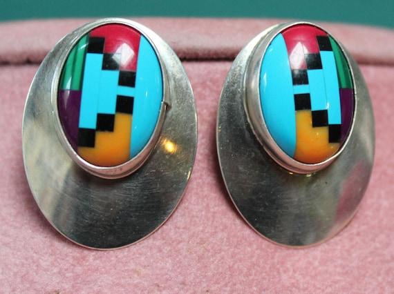 Zuni Inlaid Earrings/Zuni Gemstone and Sterling Ea