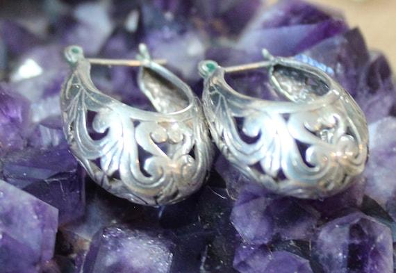 Victorian Filigree Sterling Silver Hoop Earrings/… - image 2