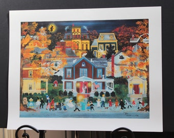 Trick or Treat Halloween Folk Art Lithograph By Ann Reeves/Hackettstown On Halloween Folk Art Lithograph By Artist Ann Reeves