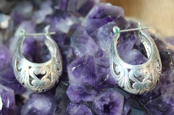 Victorian Filigree Sterling Silver Hoop Earrings/… - image 1