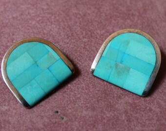 Inlaid Turquoise, Sterling Silver Earrings/ Vintage Turquoise, Sterling Silver Earrings/Clip On Turquoise Earrings