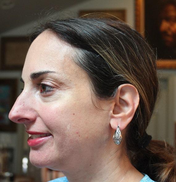 Victorian Filigree Sterling Silver Hoop Earrings/… - image 7