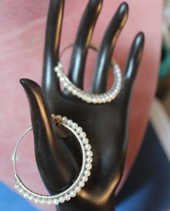 Freshwater Pearl Hoop Earrings/Sterling Silver Hoo
