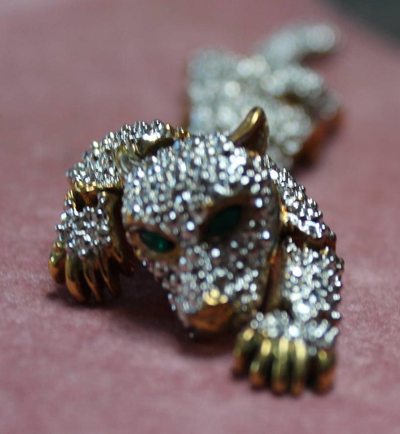 Crystal Cougar Broochfaceted Vintage Cougar Broochwildlife Etsy