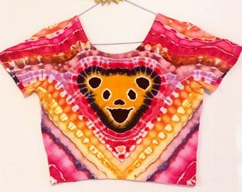 Grateful Dead Dancing Bear Tie Dye Crop Top Ladies Size Large