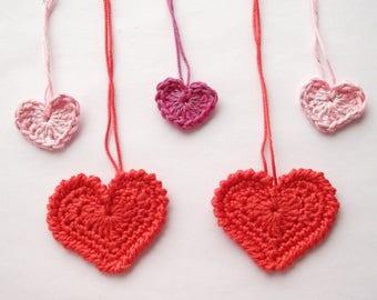 Hearts, crochet hearts,red hearts, red crochet hearts,
