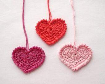 Hearts, crochet hearts,