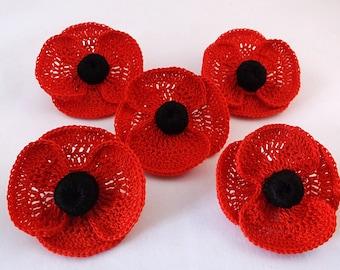 Beautiful Remembrance Day Poppy Brooch, poppy brooch, crochet poppy brooch, red crochet brooch,