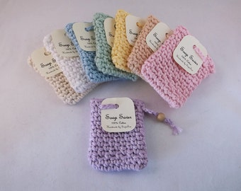 Soap saver, cotton soap sack, cotton soap holder, soap saver bag, soap bag with drawstring