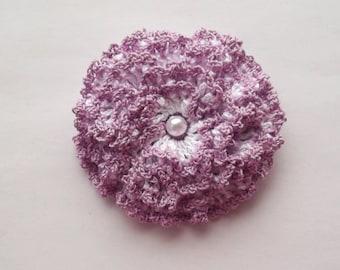 lilac crochet flower brooch, lilac crochet brooch, flower brooch, handmade, crochet, pin accessory, corsage, wedding, mother of the bride