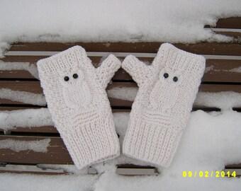 Owl fingerless gloves Owl fingerless mittens White fingerless gloves with black pastes