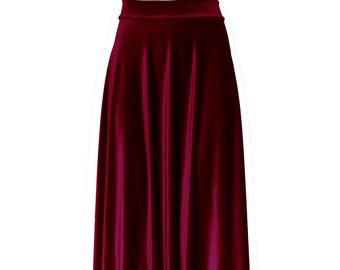 48d814ca8669f Velvet skirt Wine maxi skirt High waist burgundy skirt Formal aline bottoms Plus  size floor length outfit