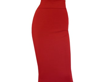 46edc26788d Pencil Skirt Red Bodycon Skirt Plus Size Midi Skirt High Waist Hobble Skirt  Sexy Casual Outfit XXS-4XL