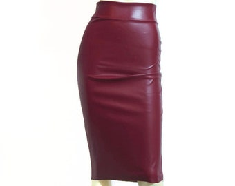 e5bc8ce7897 Wiggle Skirt Burgundy Leather Skirt Pencil High Waist Bodycon Hobble Plus  Size Skirt Casual Midi Skirt Sexy Fitted Outfit XS-5XL