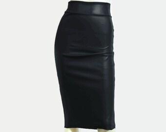 be9a137d37a6a Jupe entravée en cuir noir jupe crayon taille haute moulante Plus taille  Midi jupe Tube occasionnel jupe Sexy tenue équipée XS-5XL