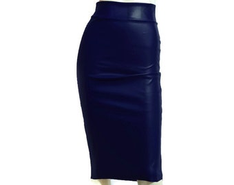 35fe102736b Hobble Skirt Navy Blue Vegan Leather Skirt Pencil High Waist Bodycon Plus  Size Midi Skirt Casual Fitted Skirt Sexy Rave Outfit XS-5XL