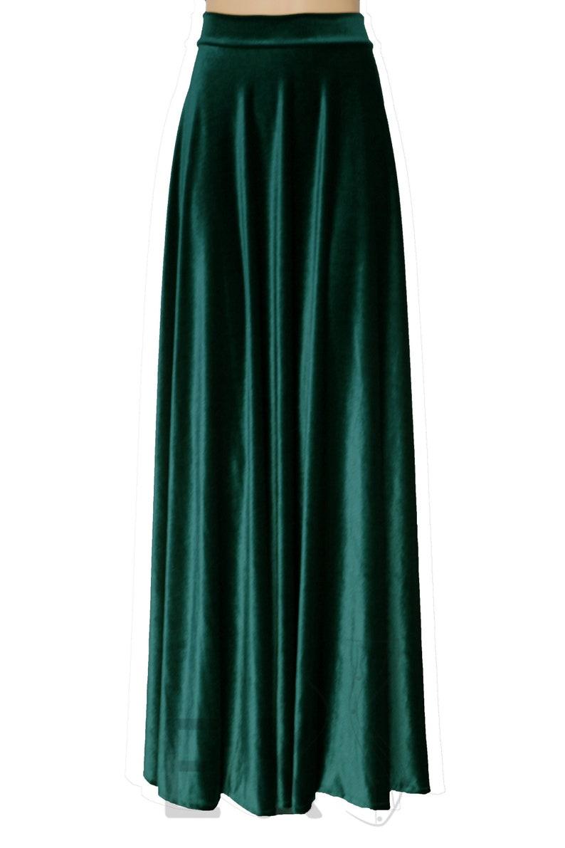 99db3cae69f9 Velvet skirt Dark green skirt Long high waist skirt Plus size | Etsy