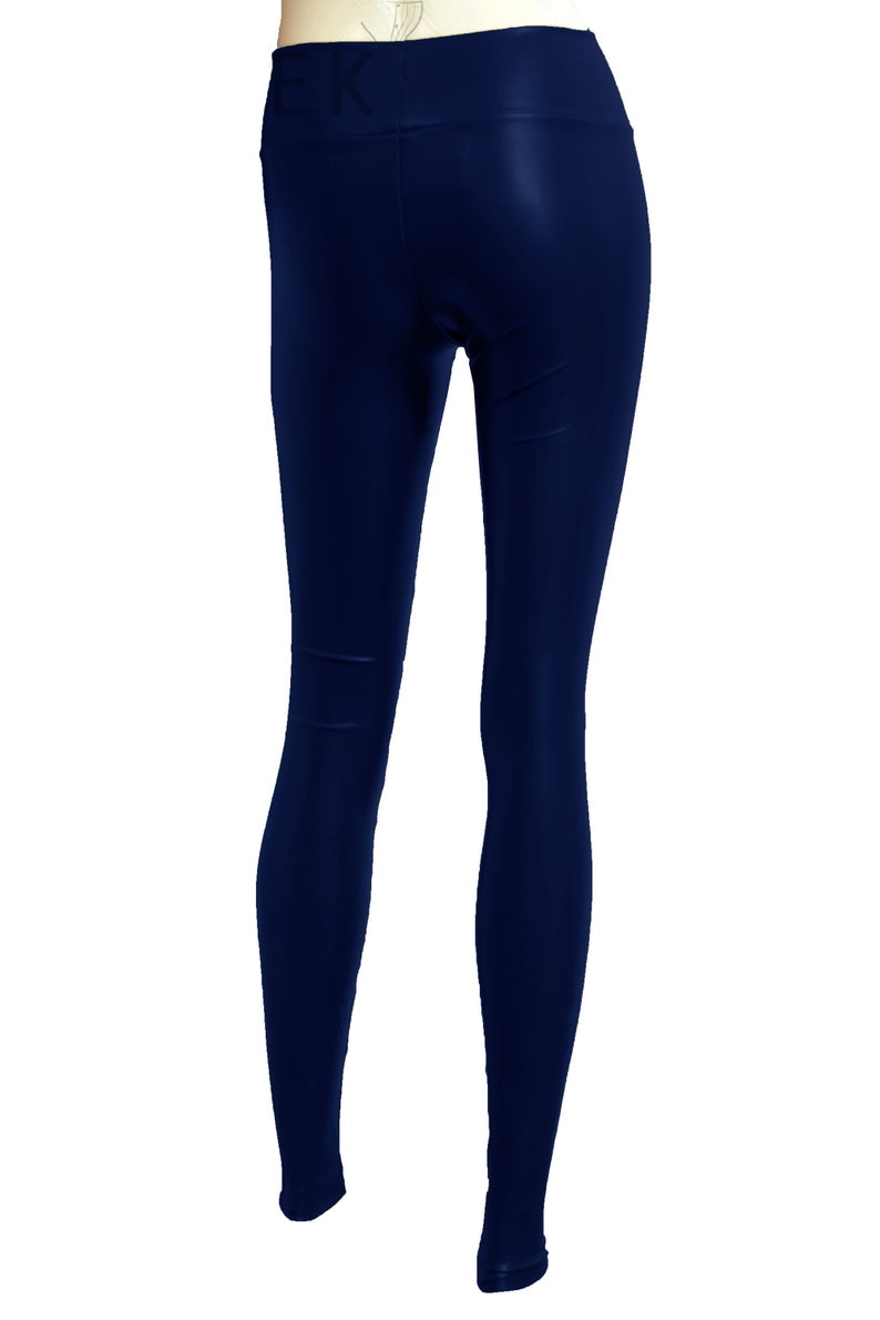 f1939dab2a1526 Leather leggings Navy blue tights PVC stretchy pants Plus size | Etsy