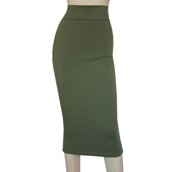 d38c4958f799f Pencil Skirt Tube Jersey Bodycon Olive Green Plus Size Midi
