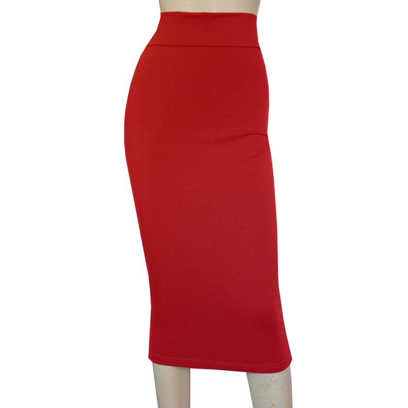 241f917e33 Pencil Skirt Red Bodycon Skirt Plus Size Midi Skirt High Waist | Etsy