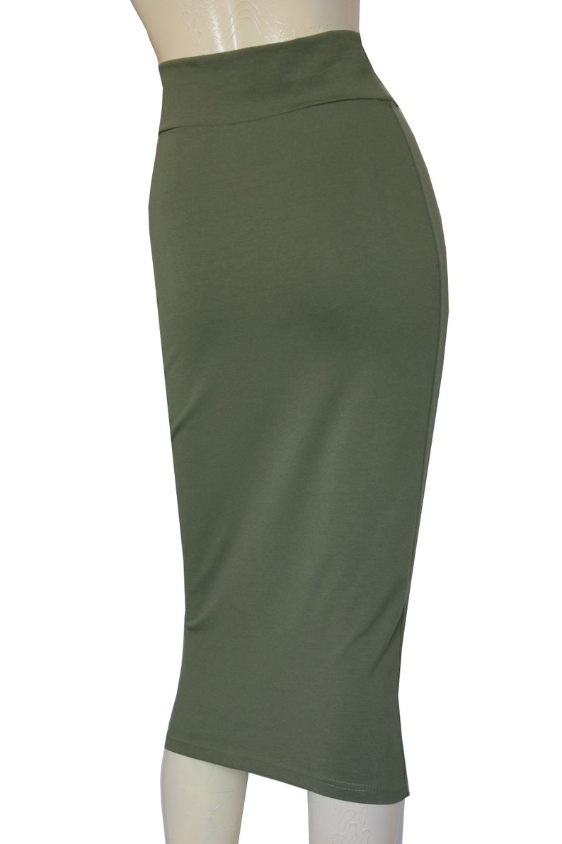 cd148c920b3 Pencil Skirt Hobble Jersey Skirt Olive Green Bodycon Plus Size