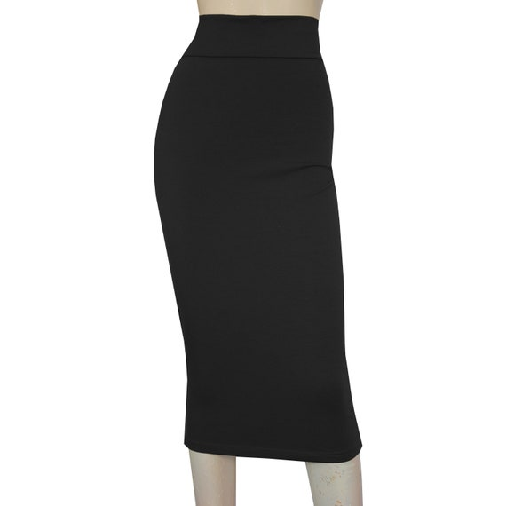 newest style of new photos on feet images of Black Pencil Skirt High Waist Hobble SKirt Jersey Bodycon Plus Size Midi  Skirt Wiggle Skirt Tube Fitted Skirt Sexy Casual Outfit XS-3XL