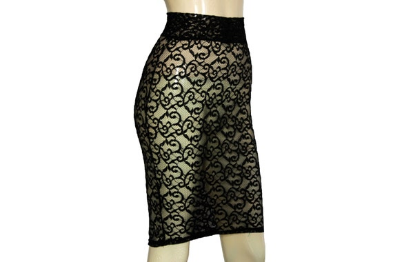 df86ebea38 Pencil Skirt Black Lace Bodycon Sheer Hobble Skirt Sexy Gothic | Etsy