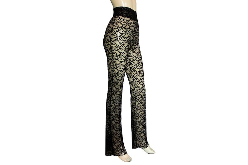 e5731d80e2e Lace pants Black sheer flares Bell bottoms tights See through
