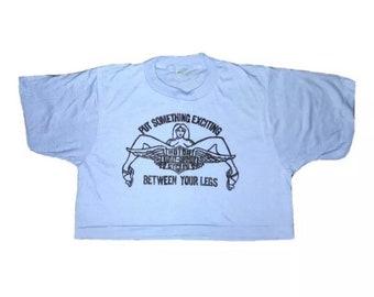 Vintage Deadstock Screen Stars Cropped T-shirt Harley Davidson Single Stitch S