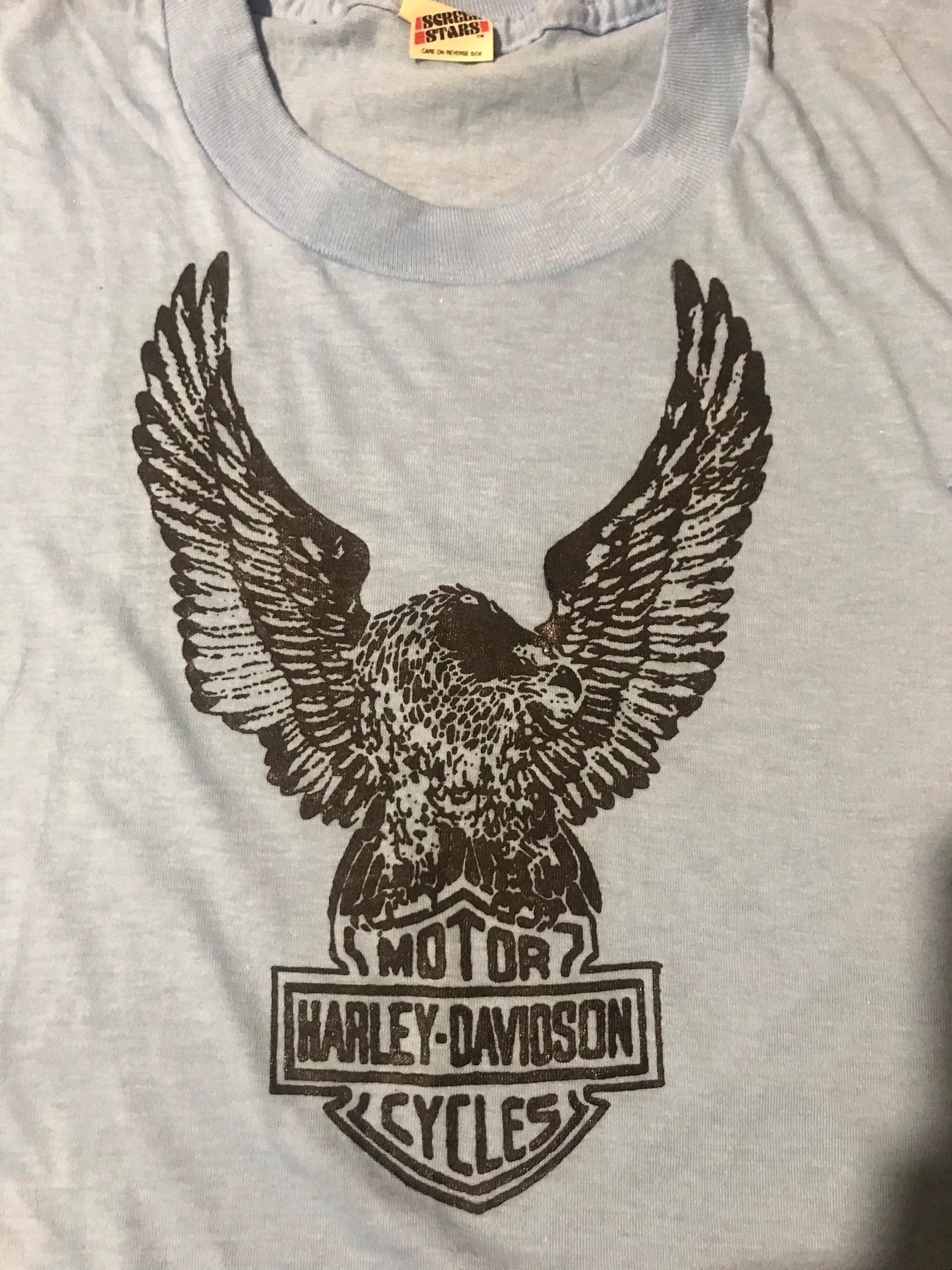 Vintage Harley Davidson print on Deadstock screen stars cropped T-shirt size large