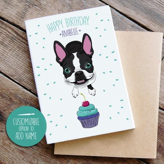 Boston Terrier Birthday Card French Bulldog Birthday Card Etsy