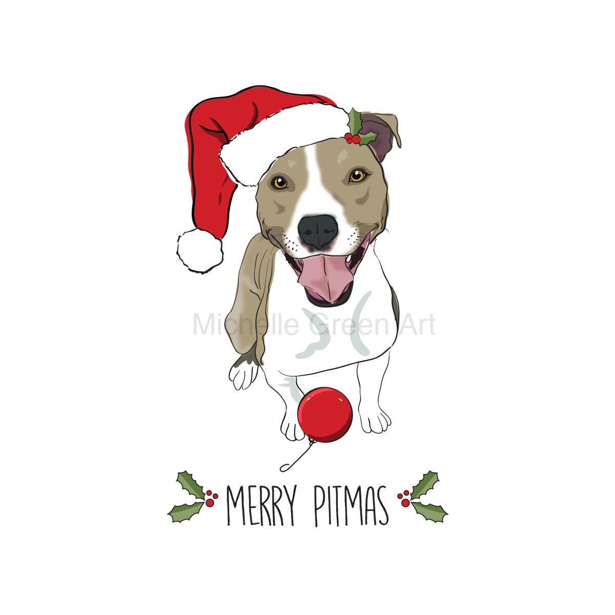 Merry Pitmas Pit Bull Christmas Clip Art Pit Bull Santa Hat | Etsy